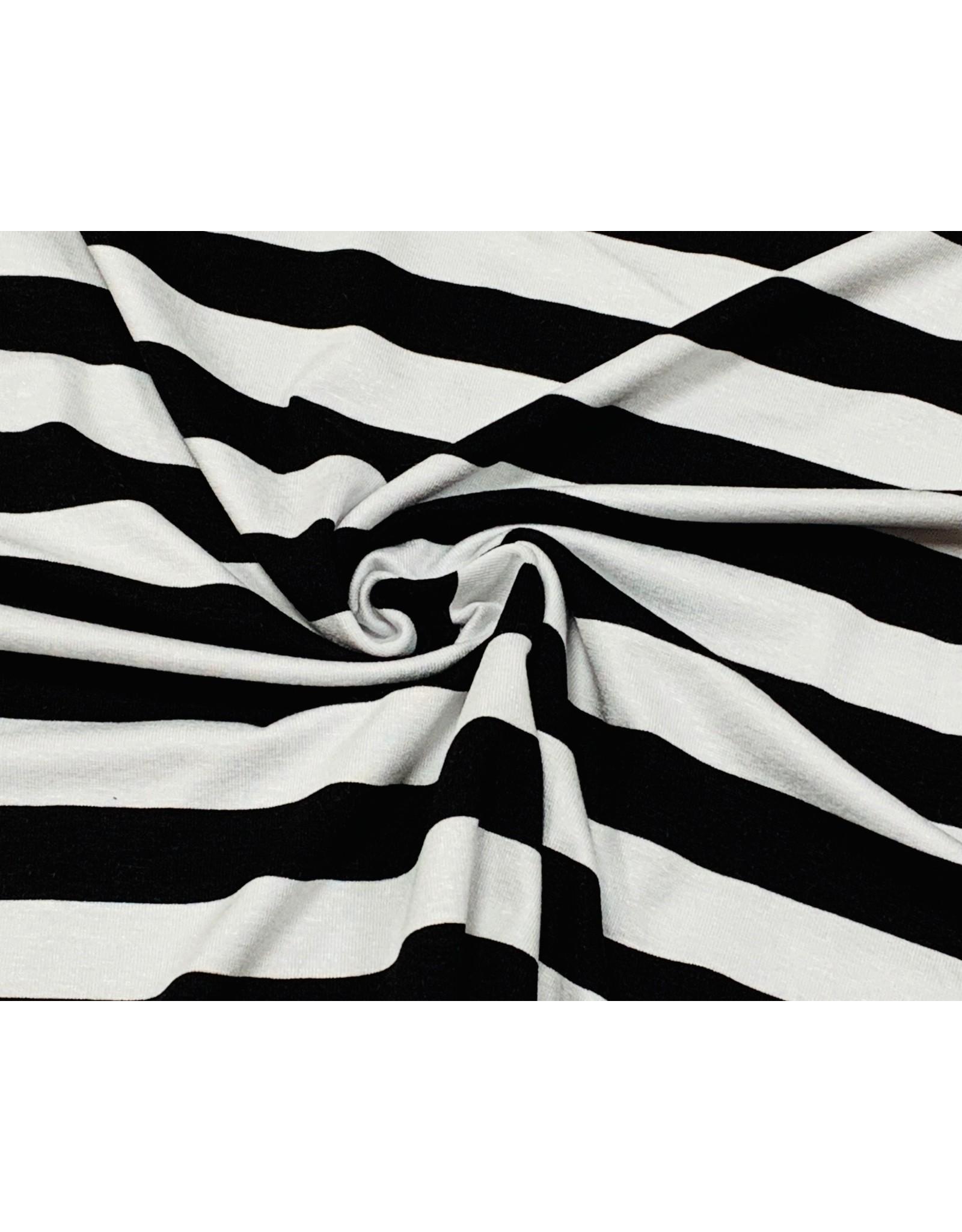 Viscose Jersey stripes wit