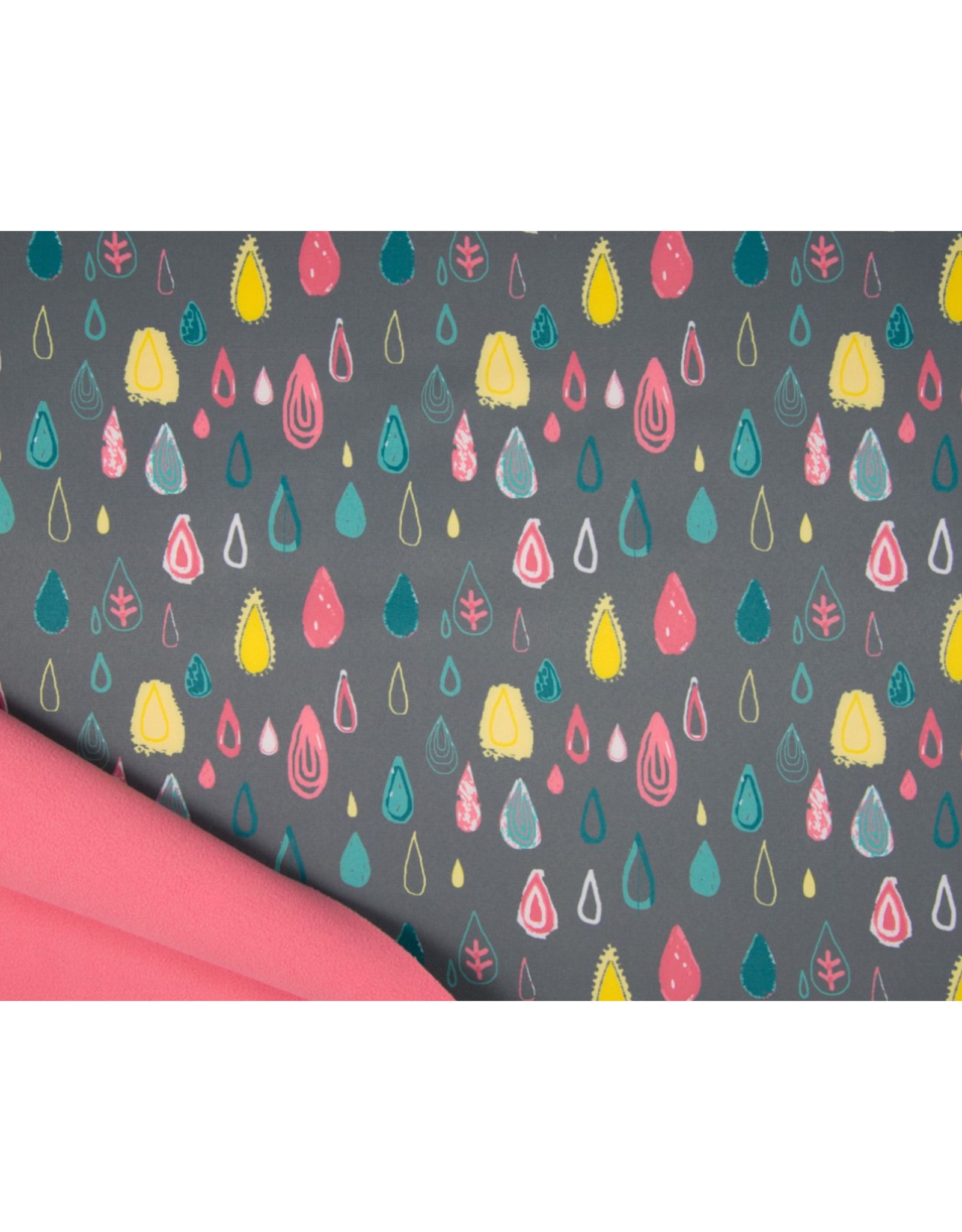 Softshell stoff Bedruckt - Raindrops Grau