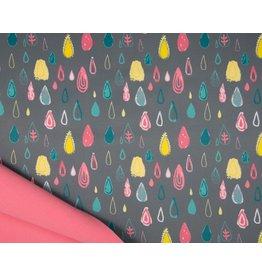 Softshell fabric Print - Raindrops Grey