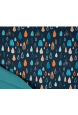 Softshell stof Bedrukt - Raindrops Navy