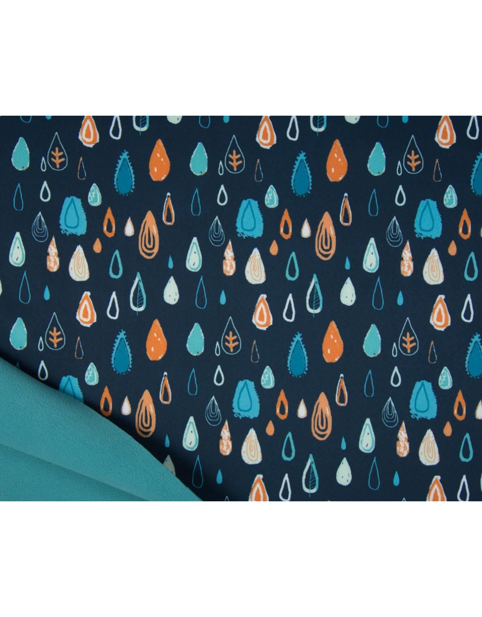 Softshell stoff Bedruckt - Raindrops Navy