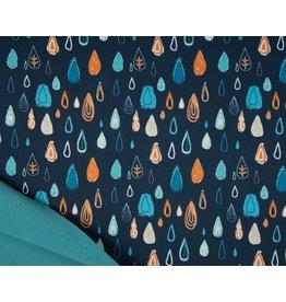 Softshell fabric Print - Raindrops Navy