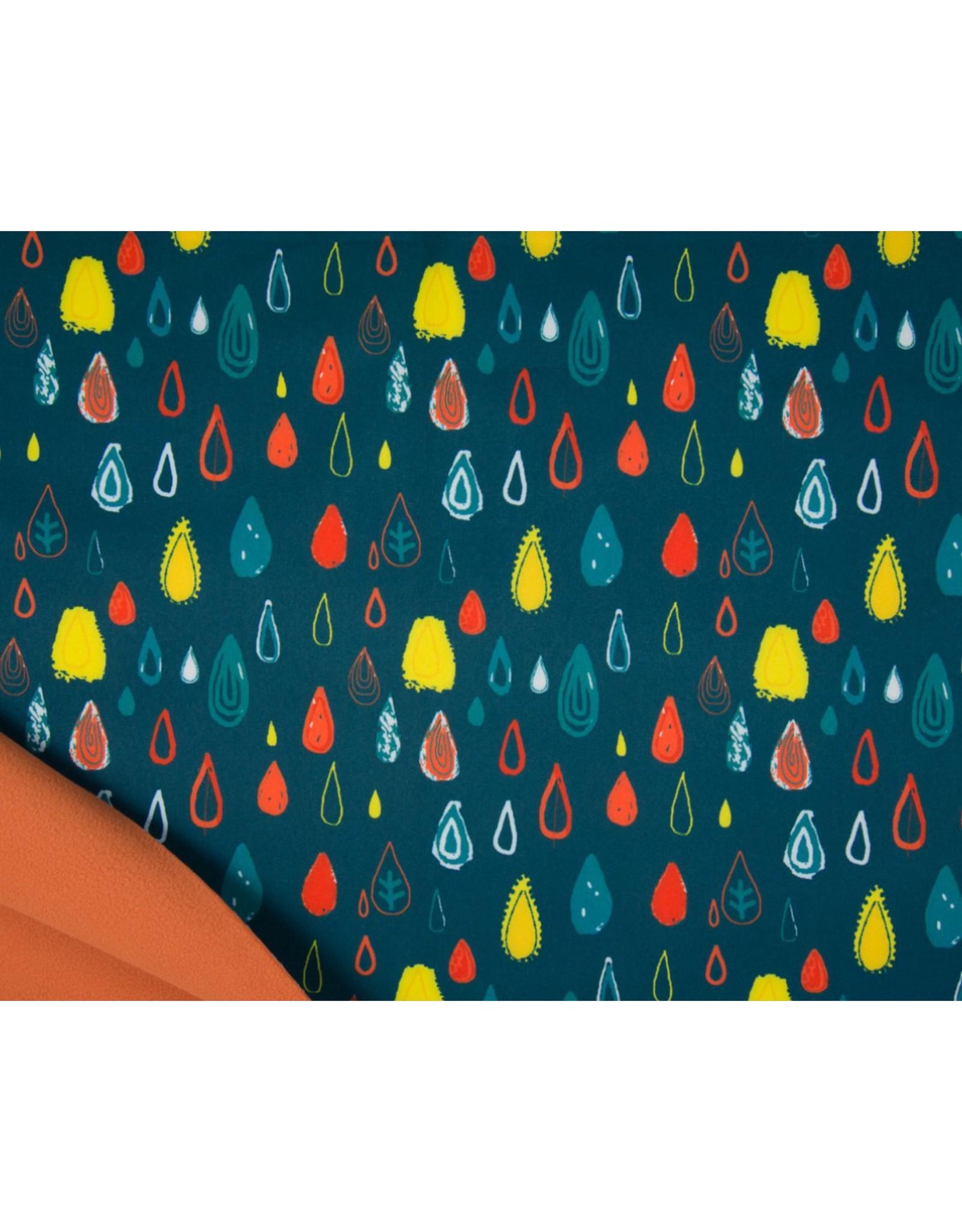 Softshell stof Bedrukt - Raindrops Petrol