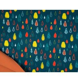 Softshell fabric Print - Raindrops Petrol