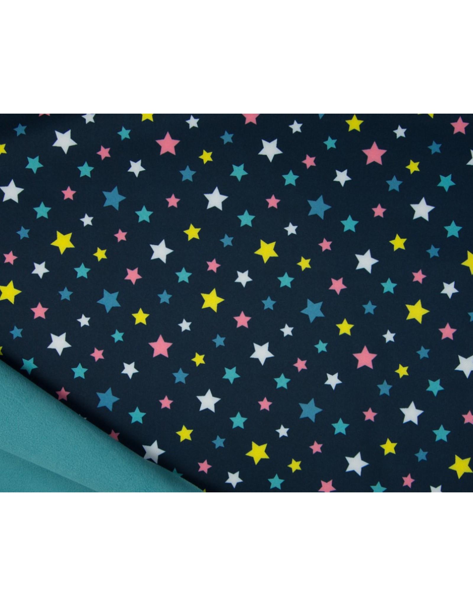 Softshell stof Bedrukt - Stars Navy