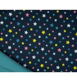 Softshell stoff Bedruckt - Stars Navy