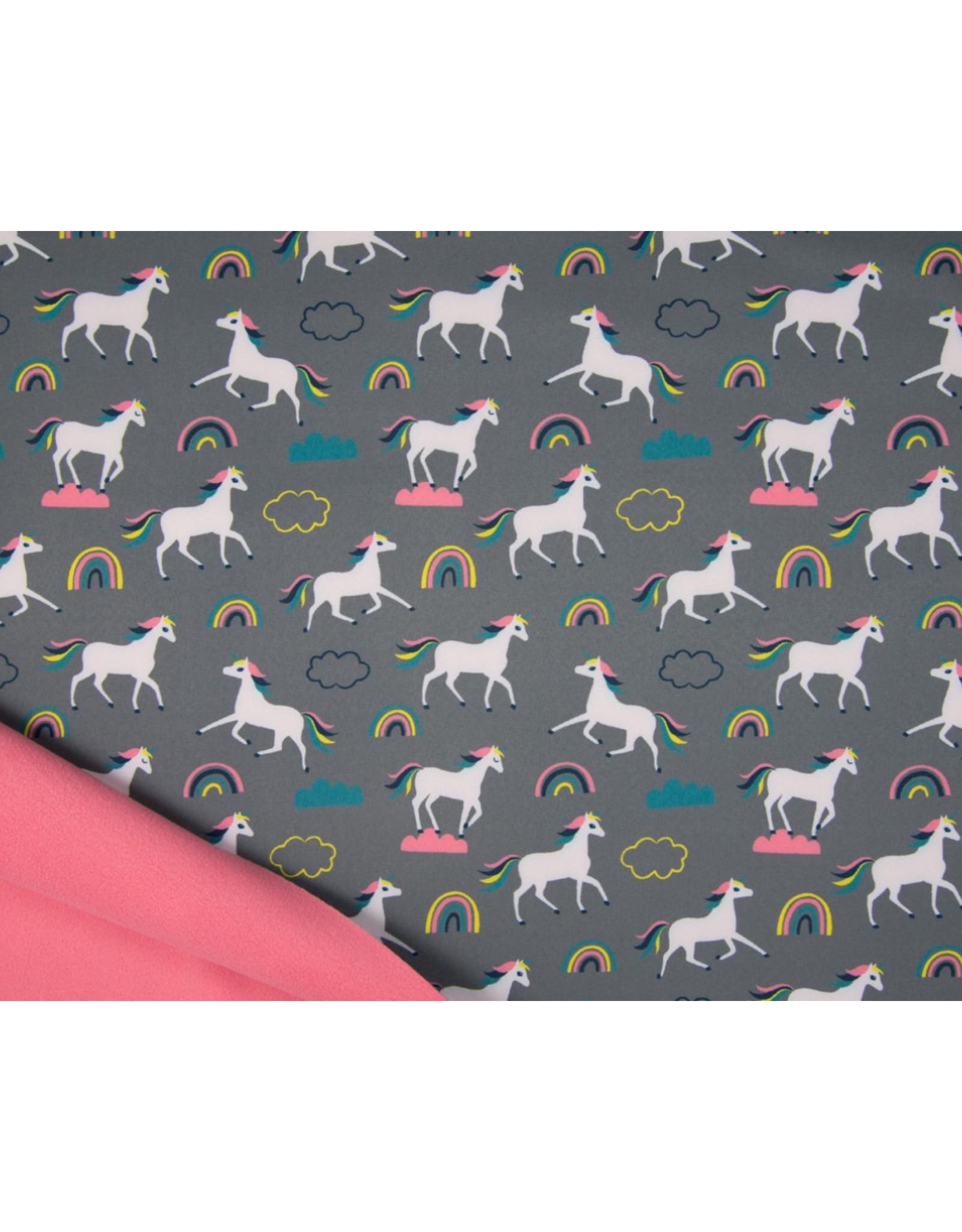 Softshell stoff Bedruckt - Unicorns Grey