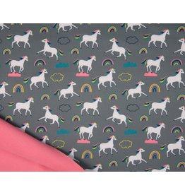 Softshell fabric Print - Unicorns Grey