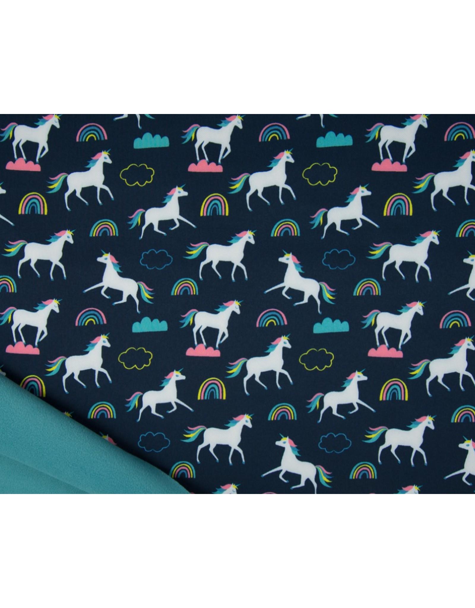 Softshell stof Bedrukt - Unicorns Navy