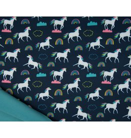 Softshell fabric Print - Unicorns Navy