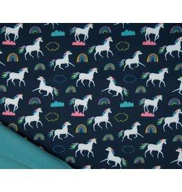 Softshell stoff Bedruckt - Unicorns Navy