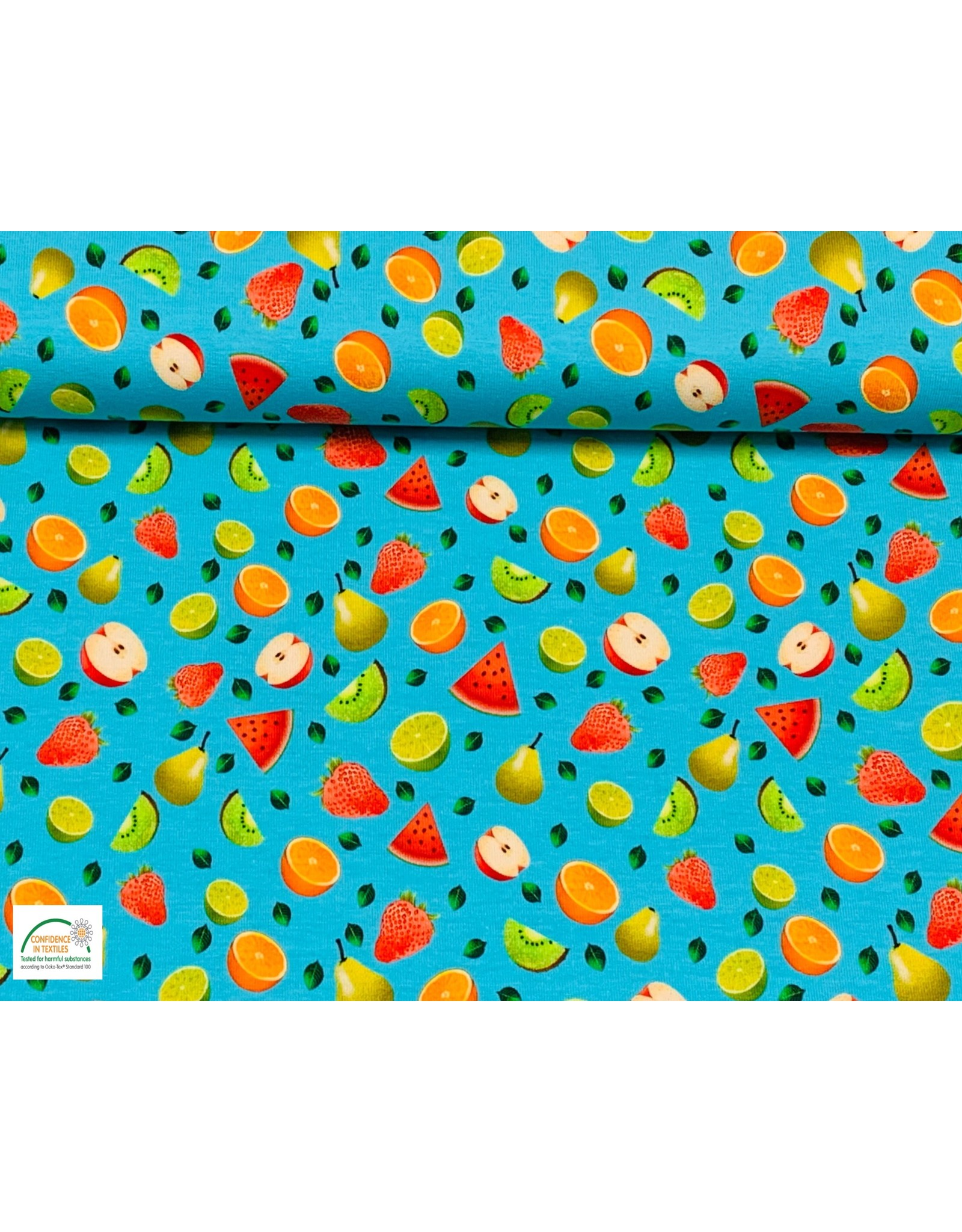 Megan Blue Fabrics Bauwmolljersey Fruits aqua
