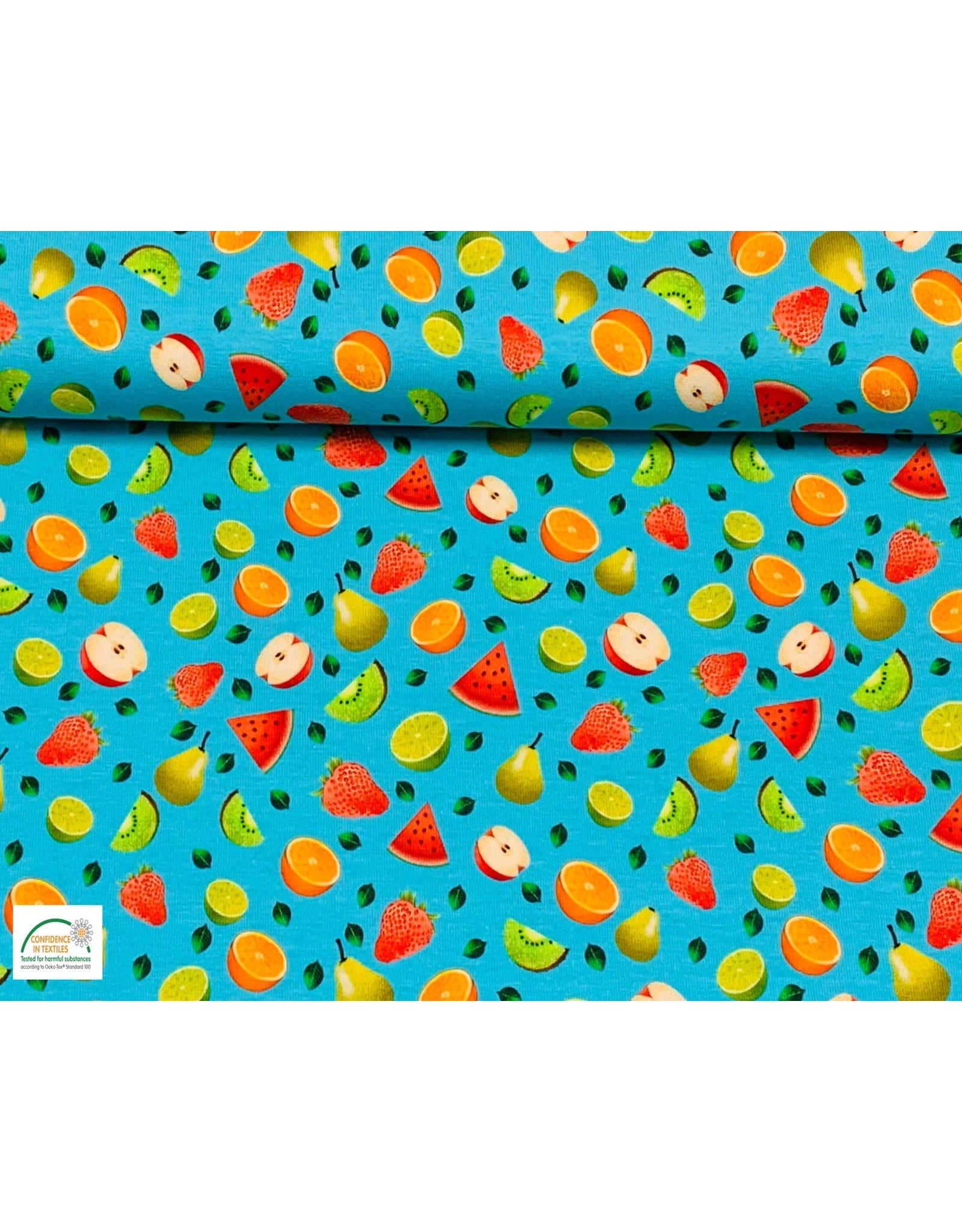 Megan Blue Fabrics Megan Blue  jersey Fruits aqua