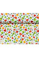 Megan Blue Fabrics Bauwmolljersey Fruits weiss