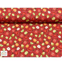 Megan Blue Fabrics Bauwmolljersey Fruits rot