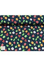 Megan Blue Fabrics Megan Blue tricot Fruits navy