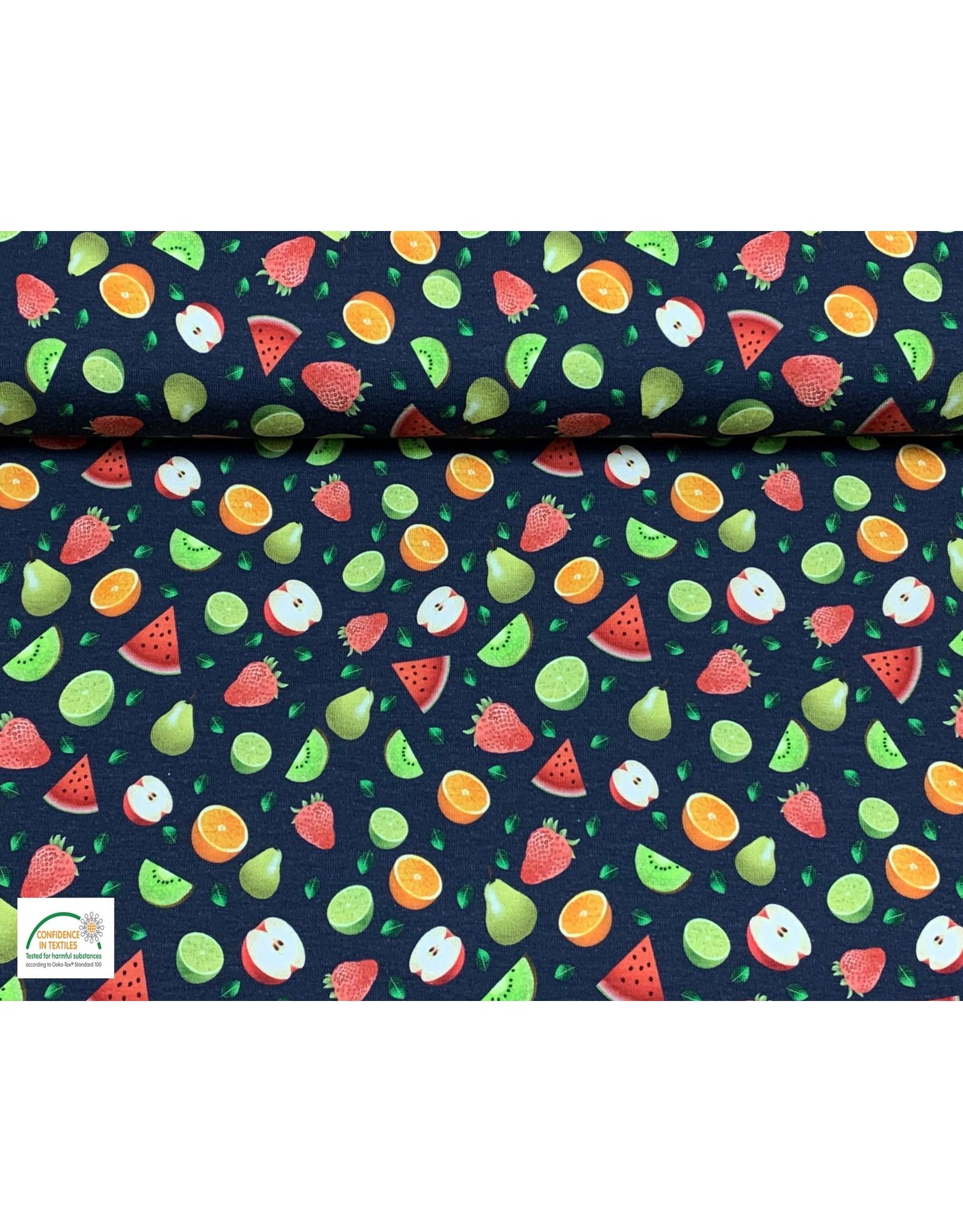 Megan Blue Fabrics Bauwmolljersey Fruits navy