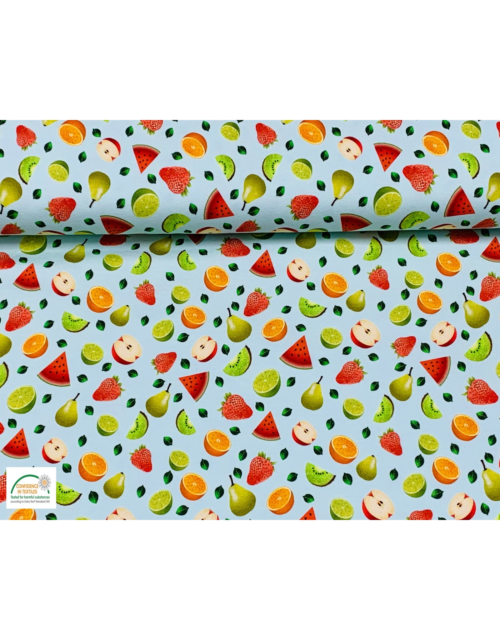 Megan Blue Fabrics Bauwmolljersey Fruits mint
