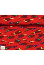 Megan Blue Fabrics Megan Blue tricot Helikopter rood