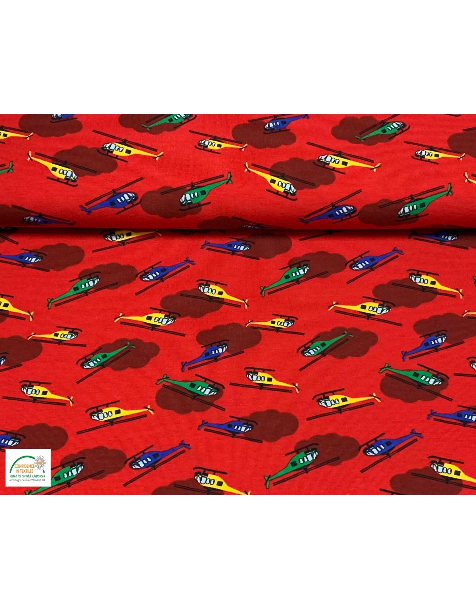 Megan Blue Fabrics Bauwmolljersey Helikopter rot