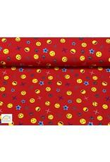 Megan Blue Fabrics Megan Blue jersey Emoji red
