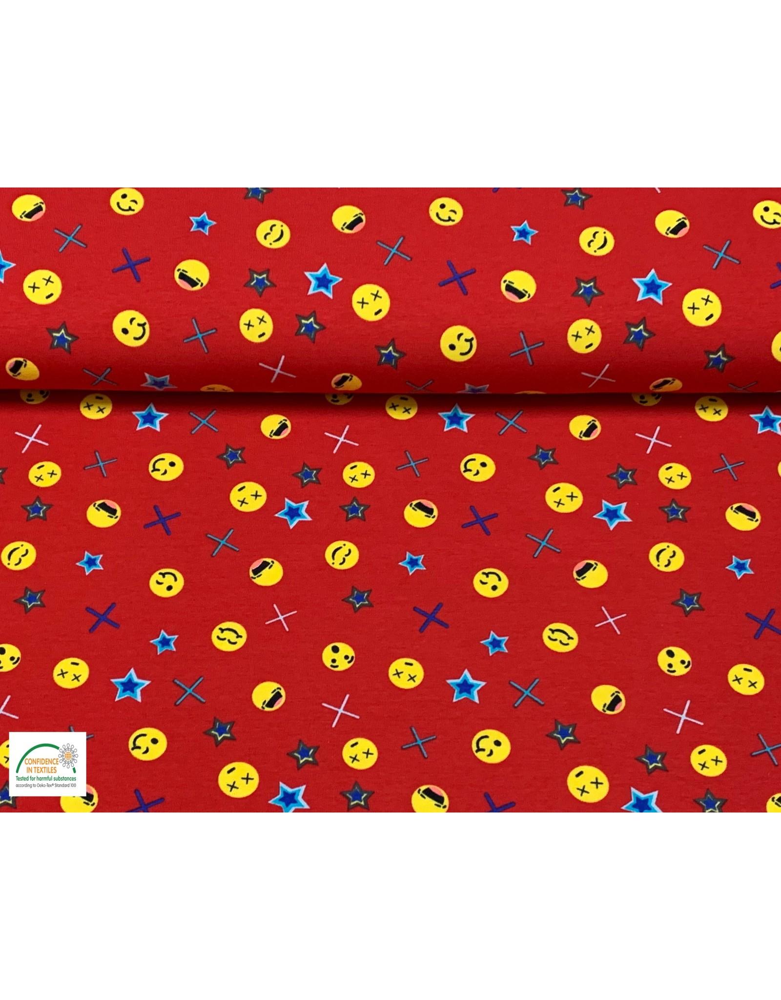 Megan Blue Fabrics Bauwmolljersey Emoji rot