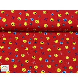 Megan Blue Fabrics Megan Blue tricot Emoji red