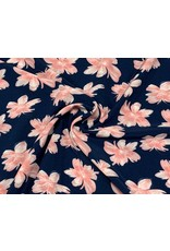 Peach tricot flowers navy