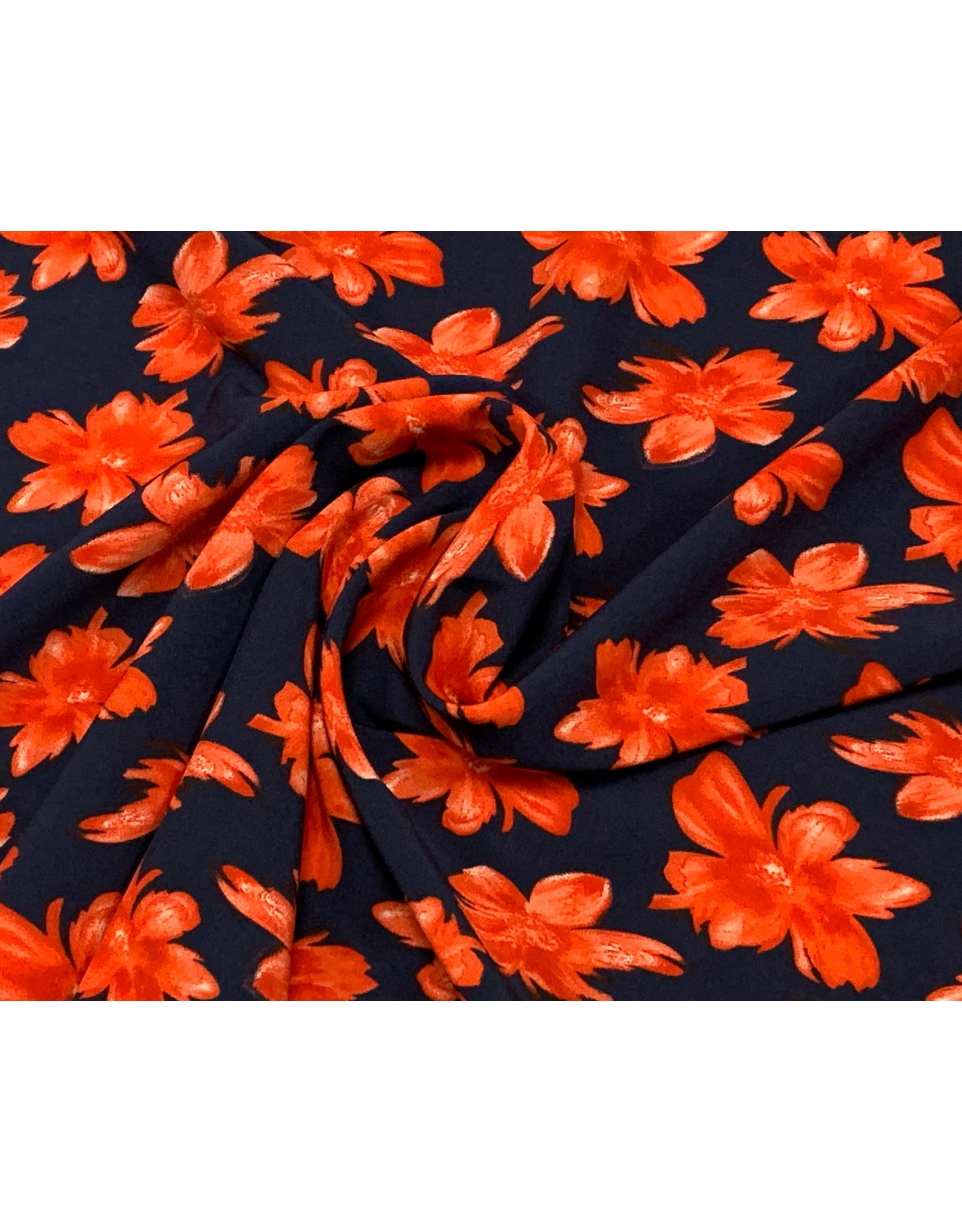 Peach tricot red flowers navy