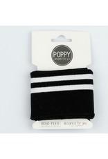 Poppy Cuff Fabric - Black stripes