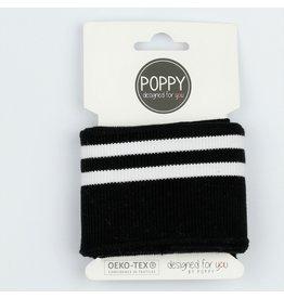 Poppy boordstof Cuff  - Zwart strepen