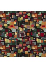 B&B Fabrics Gobelin Premium - Artistiek blokjes zwart