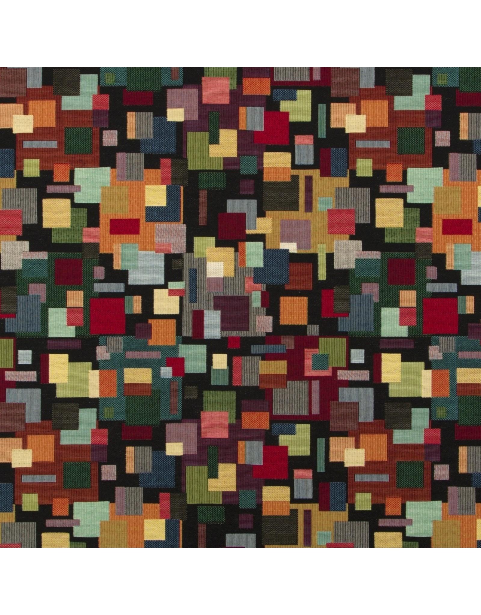 B&B Fabrics Gobelin Premium - Künstlerisch block schwarz