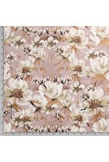 Nobodeco Home Fluweel stof Flowers Rosé