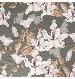 Nobodeco Home Velvet fabric Flowers Green