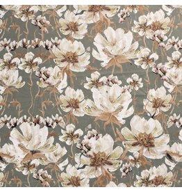Nobodeco Home Fluweel stof Flowers Green
