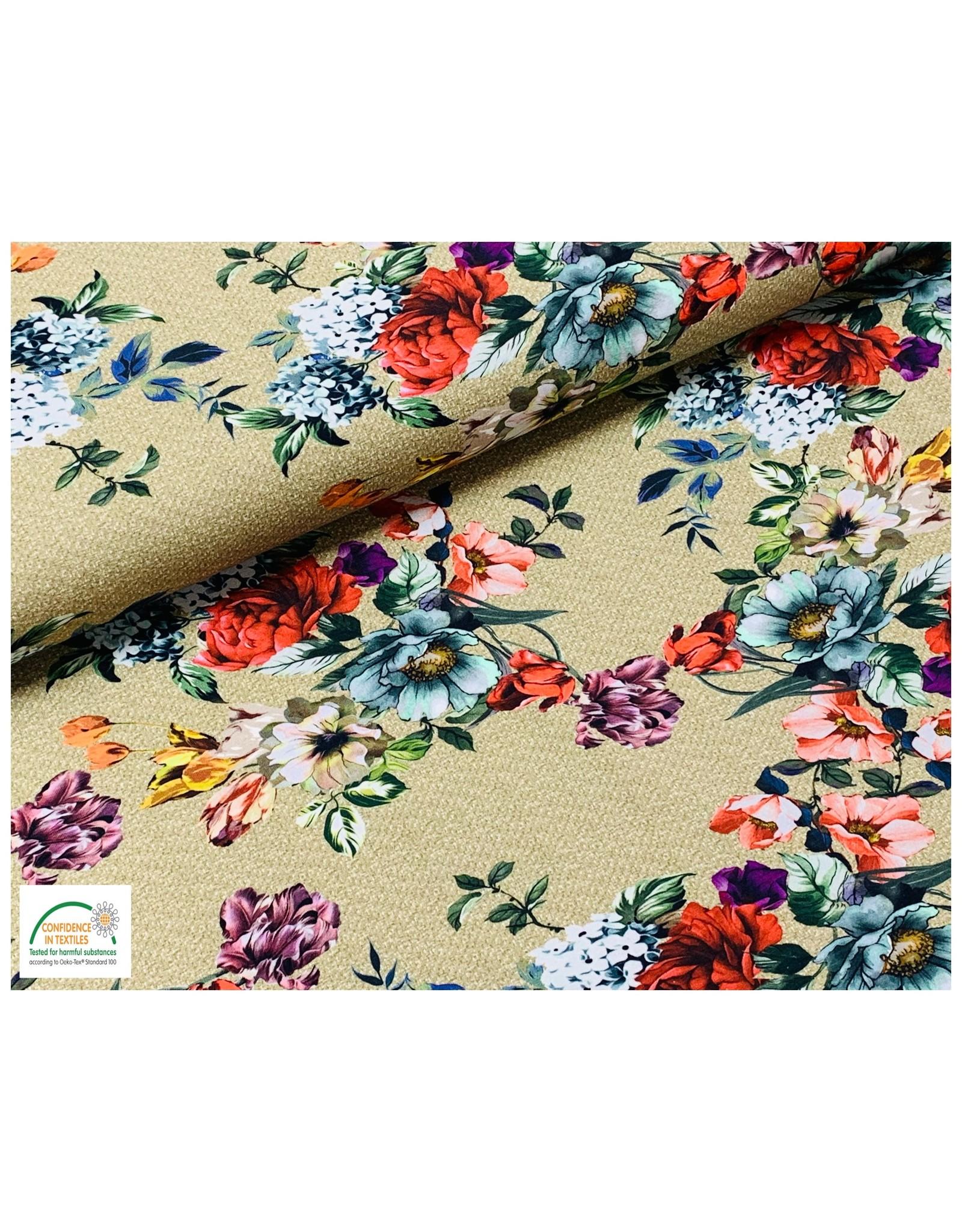 Megan Blue Fabrics Bauwmolljersey Blumen