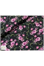 Megan Blue Fabrics Megan Blue tricot Flowers black