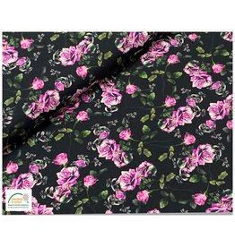 Megan Blue Fabrics Bauwmolljersey Flowers black
