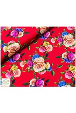 Megan Blue Fabrics Bauwmolljersey Flowers red