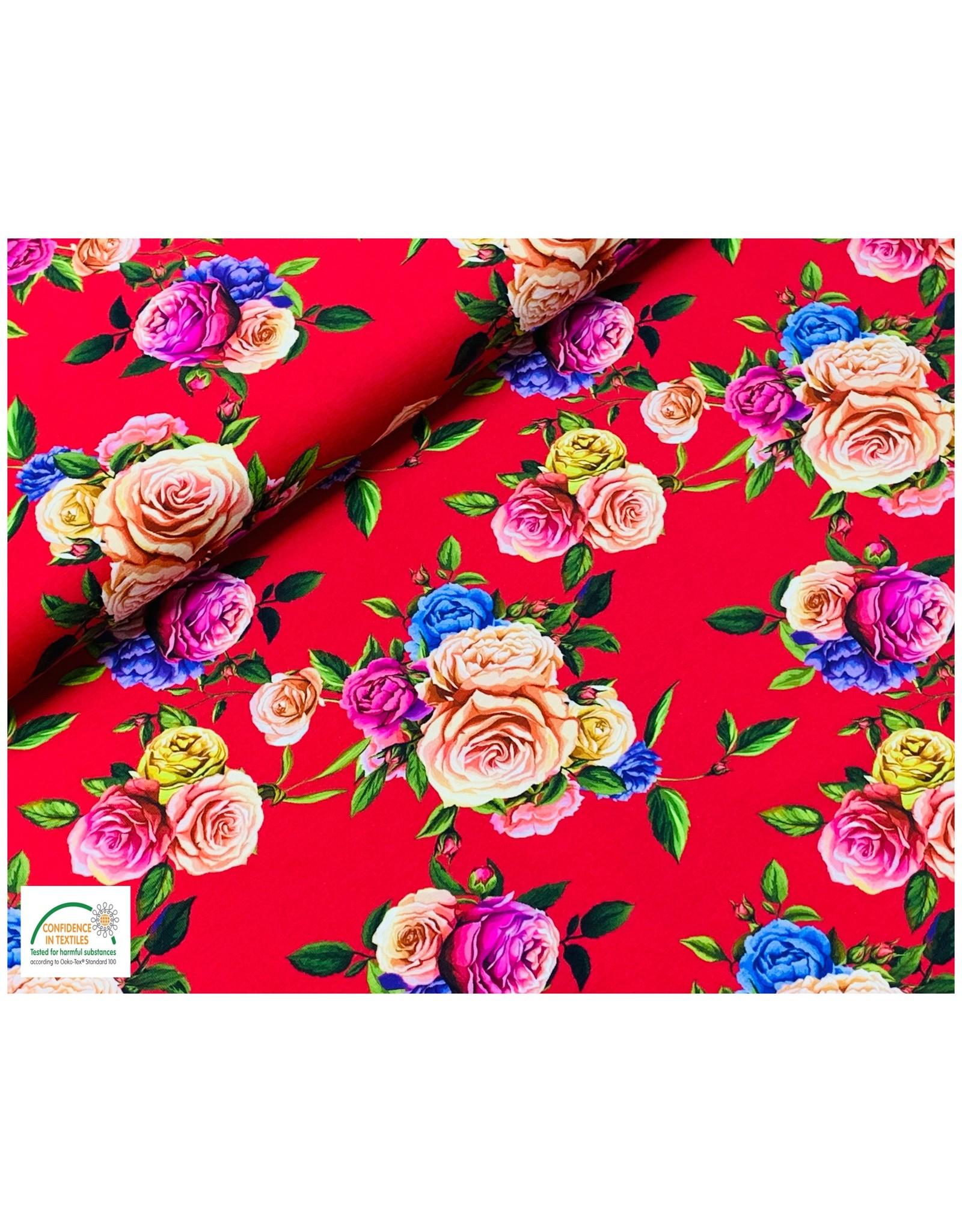 Megan Blue Fabrics Megan Blue tricot Flowers red