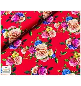 Megan Blue Fabrics Megan Blue jersey Flowers red