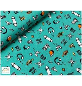 Megan Blue Fabrics Bauwmolljersey Game on Ocean