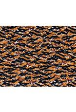 Viscose twill Print - Waves Pumpkin
