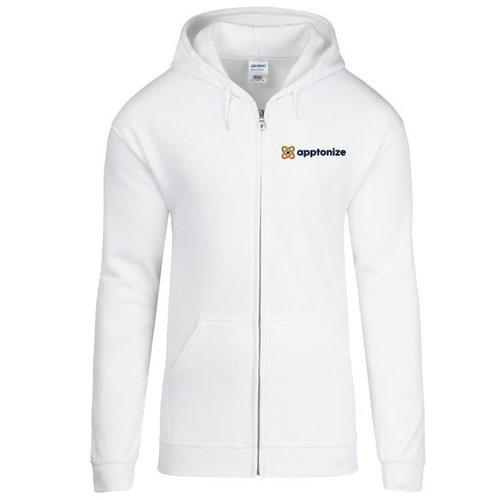 White Gildan® Heavy Blend™ Full-Zip Hooded Sweatshirt