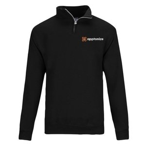 Black JERZEES® NuBlend® Quarter-Zip Cadet Collar Sweatshirt