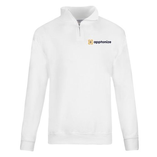 White JERZEES® NuBlend® Quarter-Zip Cadet Collar Sweatshirt
