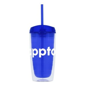 Blue 16 oz. Custom Printed Tumbler with Full-Color Wraparound