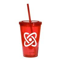 Red 16-oz. Tumbler with Cap & Straw