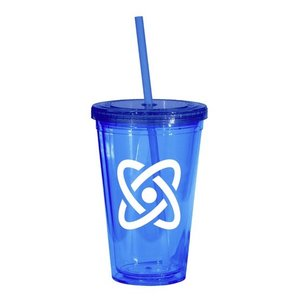 Blue 16-oz. Tumbler with Cap & Straw